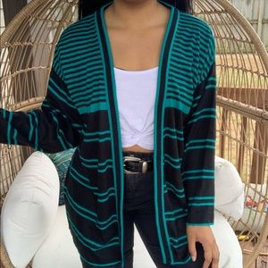 Vintage Teal Boho Baggy Sweater Cardigan SZ L